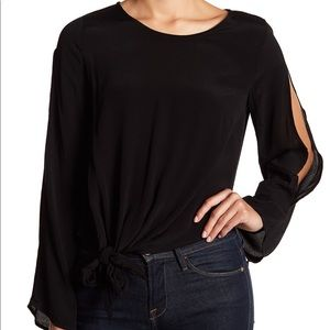 ASTR the Label Long Sleeve Tie Front Blouse